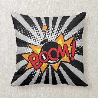Boom Superhero Bombs Comic Book Throw Pillow