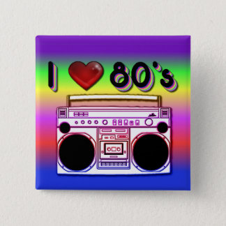Boombox 80's Square Retro 80's Button