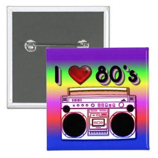 Boombox 80's Square Retro 80's Button