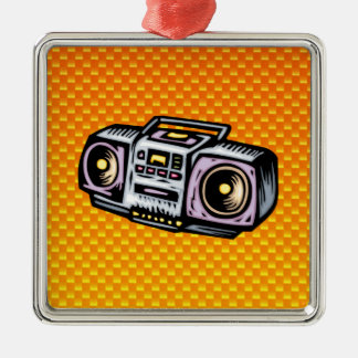 Boombox amarillo-naranja adorno cuadrado plateado