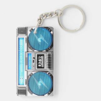 Boombox azul llavero rectangular acrílico a doble cara