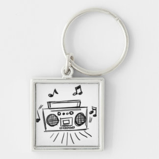 Boombox Black on White Keychain