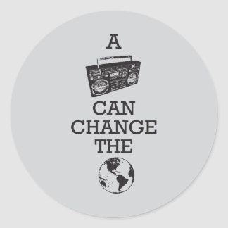 Boombox Can Change the World Classic Round Sticker