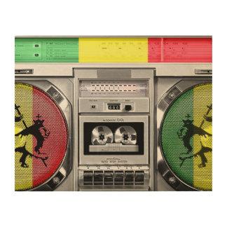 boombox del reggae impresión en madera