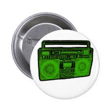 boombox ghetto blaster radio 2 inch round button
