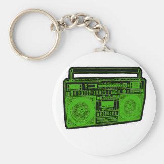 boombox ghetto blaster radio basic round button keychain