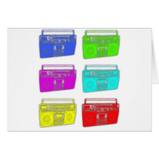 BOOMBOX multi color raver Greeting Card