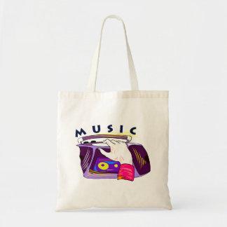 Boombox radio and hand graphic, word Music Tote Bag