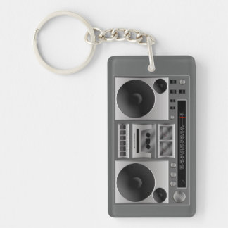 Boombox Radio Graphic Single-Sided Rectangular Acrylic Keychain