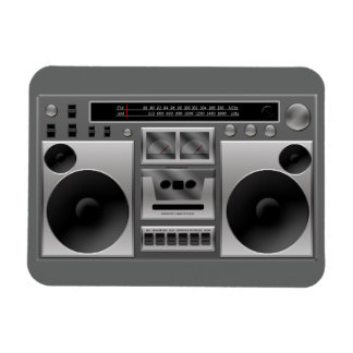 Boombox Radio Graphic Rectangle Magnet