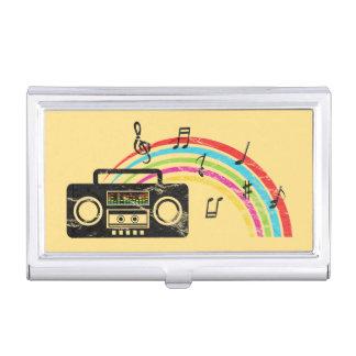 Boombox retro con música y el arco iris caja de tarjetas de presentación