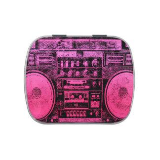 boombox rosado latas de caramelos