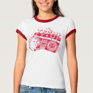 Boombox TRUMP IT UP! Red + White Bella Ringer Top Tshirts