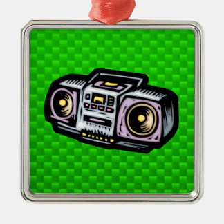 Boombox verde adorno cuadrado plateado