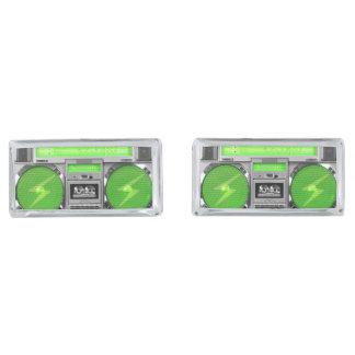 Boombox verde gemelos plateados
