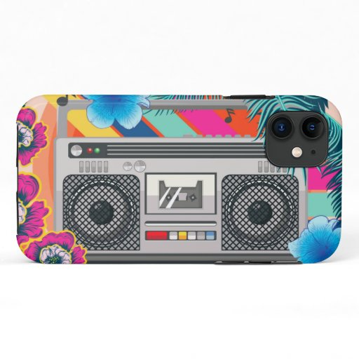 Boombox with tropical leaves and flowers iPhone 11 case