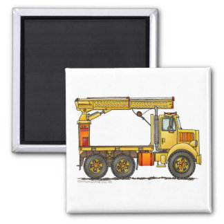 Boomed Flatbed Truck Construction Magnets
