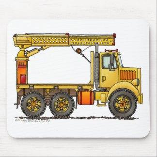 Boomed Flatbed Truck Construction Mouse Pad