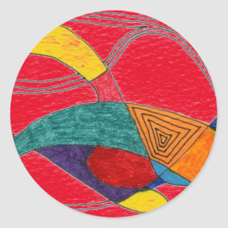 """""""Boomerang on Red"""" Abstract Design Sticker"""