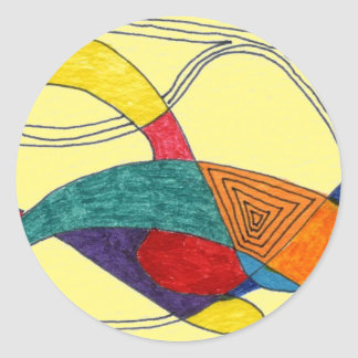 """""""Boomerang on Yellow"""" Abstract Design Sticker"""