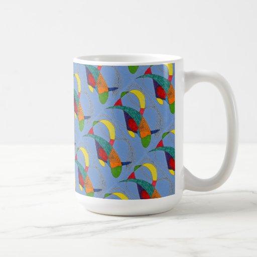 """Boomerangs on Blue Tiled"" Abstract Design Mug"