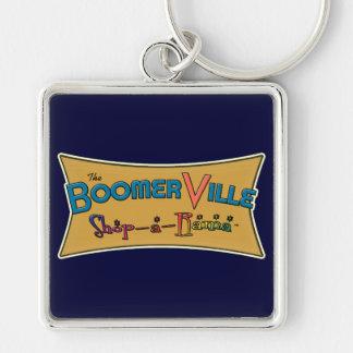 Boomerville Shop-a-Rama Logo Gear Silver-Colored Square Keychain