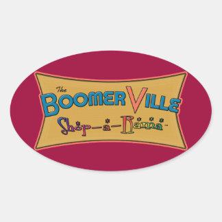 Boomerville Shop-a-Rama Logo Gear Oval Stickers