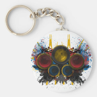 Booming Music! Basic Round Button Keychain