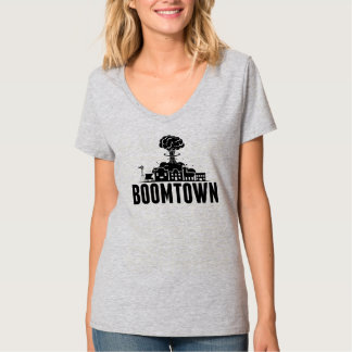 BoomTown Womens Grey V-Neck T T-Shirt