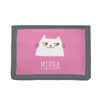 Booo The Cat , Simple Cute Girly Pink Monogrammed Trifold Wallet