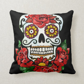 BooPooBeeDoo Floral candy skull Throw Pillow