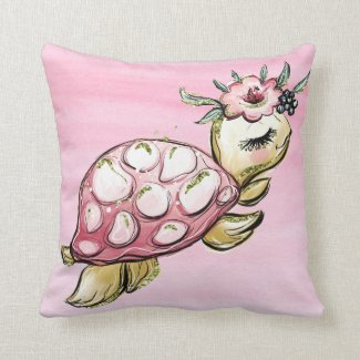 Boopsie Pink Turtle Flowers Pink Ombre Throw Pillo