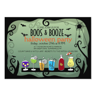 BOOS and BOOZE Halloween Invitation