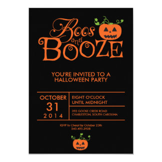 Boos and Booze Halloween Party Invitation