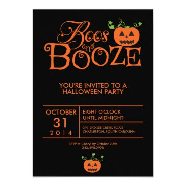 cranberrydesign Boos and Booze Halloween Party Invitation