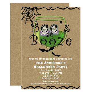 Boos & Booze Ghosts & Bats Kraft Halloween Party Card