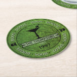 """Boos &amp; Booze Halloween Green Custom Paper Coasters<br><div class=""""desc"""">Personalize your Halloween cocktail party with these uniquely creepy paper coasters. The silhouette of a cocktail glass with a swizzle stick spearing a skull 'olive' is set against a haunting poison green and black damask background. The words 'Boos&#39; and &#39;Booze' are set around the circle in pale grey-green typography. Customize...</div>"""