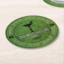 Boos & Booze Halloween Green Custom Paper Coasters