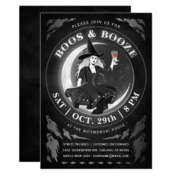 Boos & Booze Halloween Invitations | Black & White