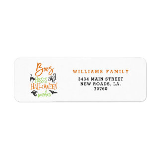 Boos Hisses and Halloween Wishes Label