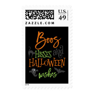 Boos Hisses and Halloween Wishes Postage