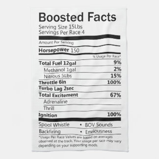 Boosted facts kitchen towel