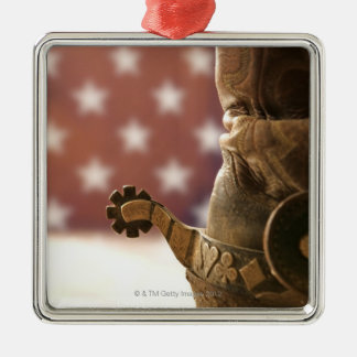 Boot and spur square metal christmas ornament