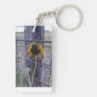 Boot and wild sunflower double sided keychain. keychain