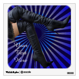 BOOT Art - Leather thigh highs (blue star burst) Wall Decal