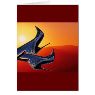 Boot Art with a Coloful Sunset Background Card