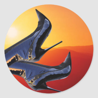 Boot Art with a Coloful Sunset Background Classic Round Sticker