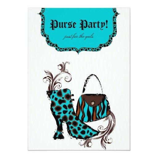 Boot Purse Party Zebra Leopard Invitation Blue