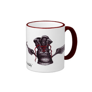 Boot with wings graphic art mug design