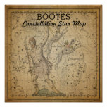 Bootes Constellation Star Map Poster